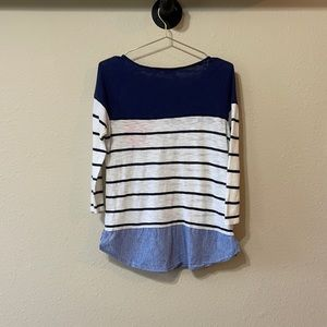 Anthropologie Postmark Striped Chambray Top Sz S